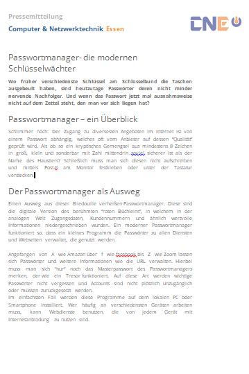 Pressemitteilung CNE Screenshot